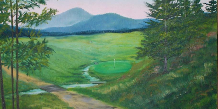 Painting of number 5 green surrounded by brook.